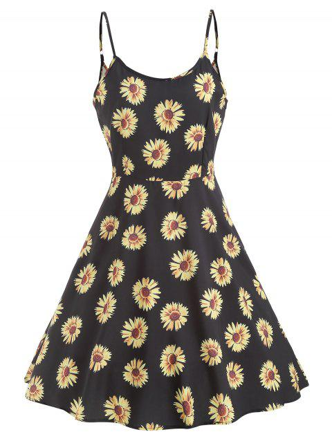 Sunflower Print High Waist Mini Dress - BLACK M