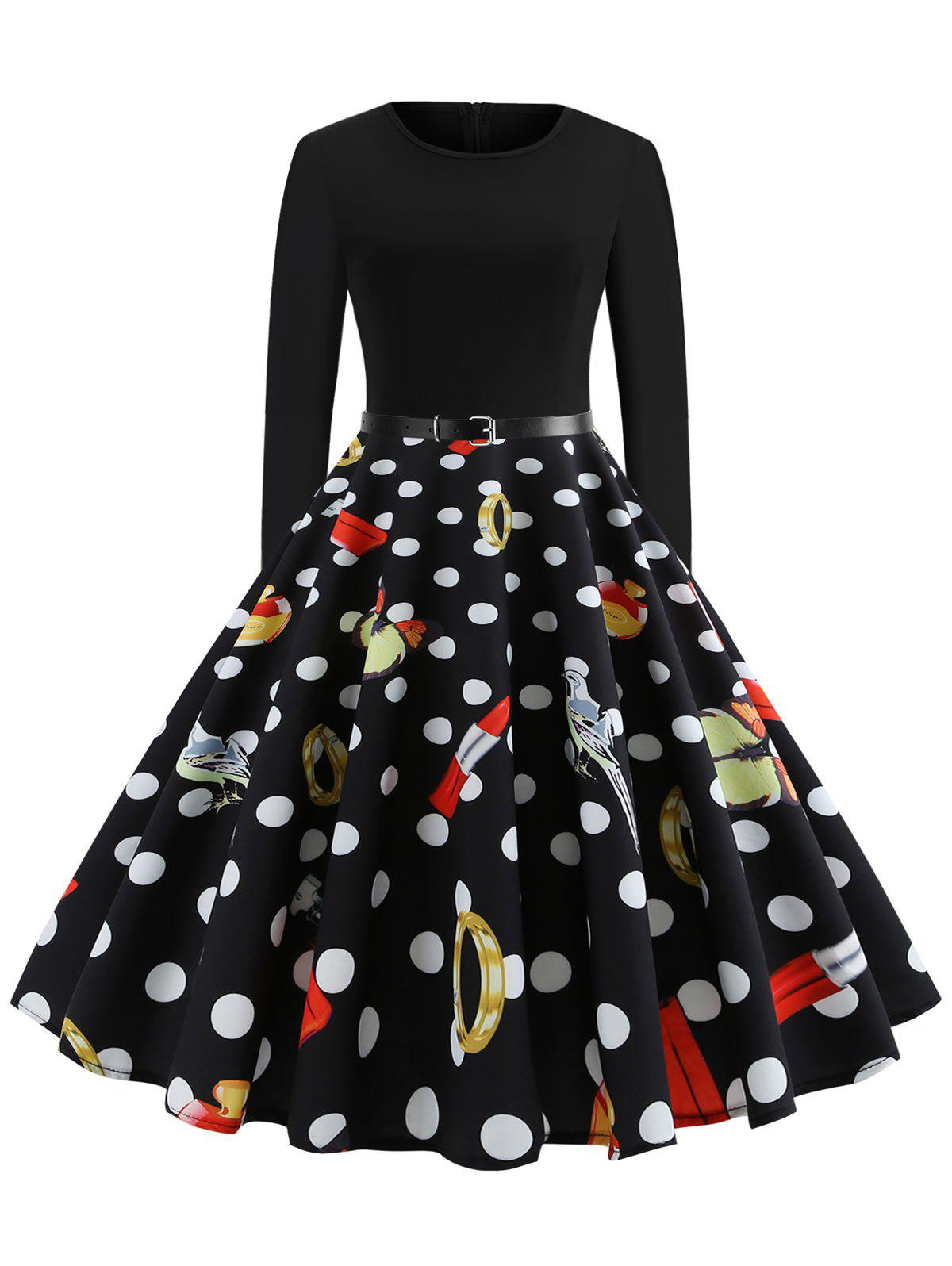 Polka Dot Print Long Sleeve Rockabilly Style High Waist Dress - BLACK M