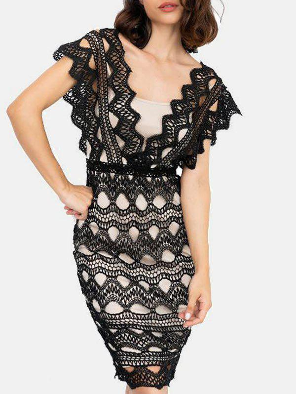 Sleeveless Zigzag Lace Midi Dress - BLACK L