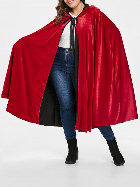 Plus Size Hooded Cape Coat - LAVA RED ONE SIZE