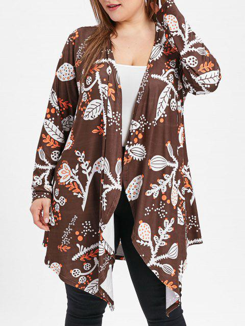 Plus Size Open Front Printed Coat - BROWN L