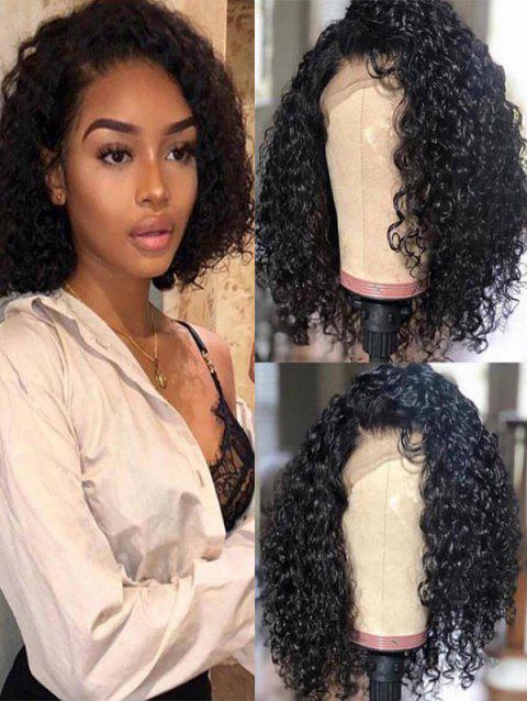 Medium Side Parting Fluffy Curly Synthetic Lace Front Wig - BLACK