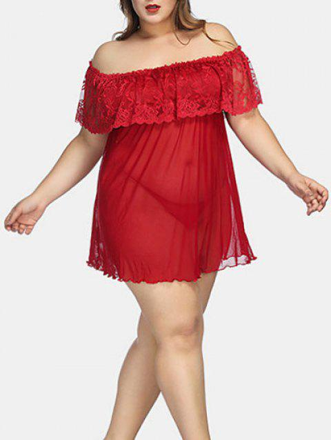 Plus Size Lace Panel Off The Shoulder Babydoll - RED 1X