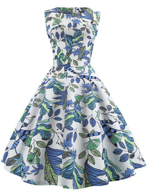 Tropical Leaf Print Vintage Dress - multicolor M