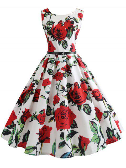 Belted Vintage Sleeveless Floral Print Dress - RED M