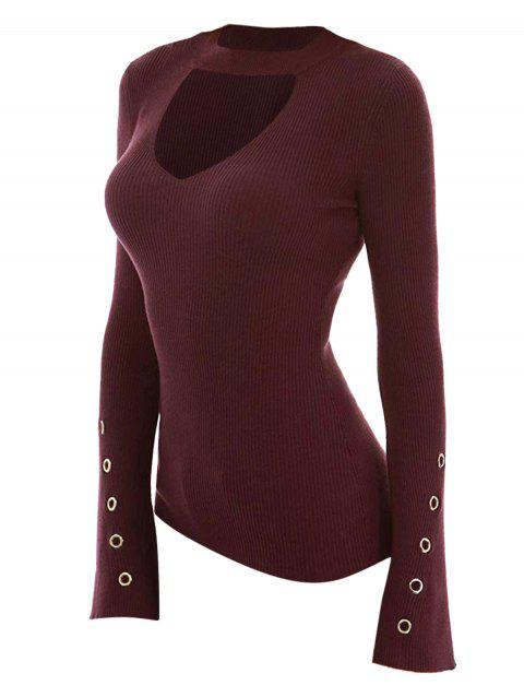 Plus Size Cut Out Grommet Detail Knit Sweater - RED WINE 2X