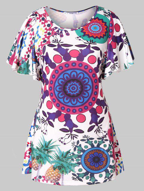 Plus Size Tribal Print Flutter Sleeve T-shirt - multicolor 5X