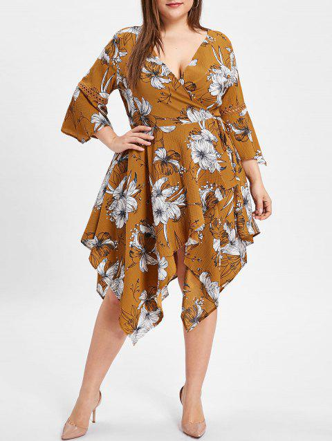 Flare Sleeve Plus Size Floral Print Wrap Dress - BEE YELLOW 2X