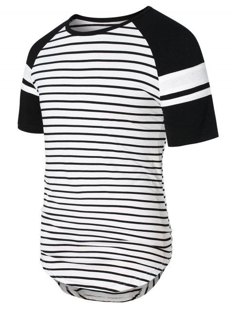 Raglan Sleeve Striped Panel Top - WHITE M