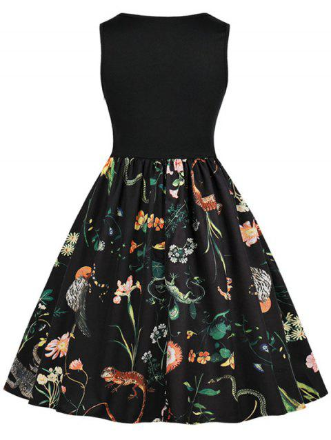 Retro Sleeveless Floral Fit and Flare Dress - BLACK M