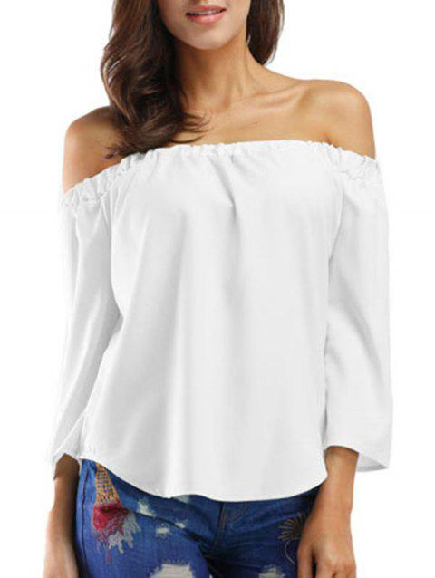 Bowknot Three Quarter Sleeve Top - WHITE L