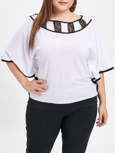 Plus Size Batwing Sleeve Lace Panel T-shirt - WHITE 3X