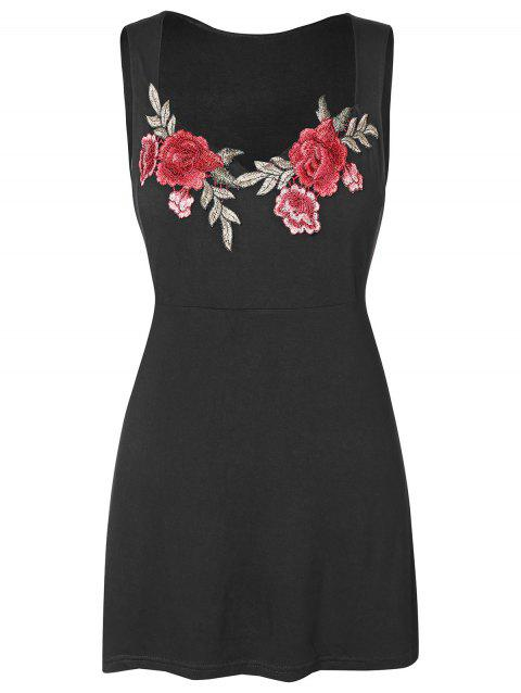 Plus Size Floral Embroidery Sweetheart Neck Tank Top - BLACK L