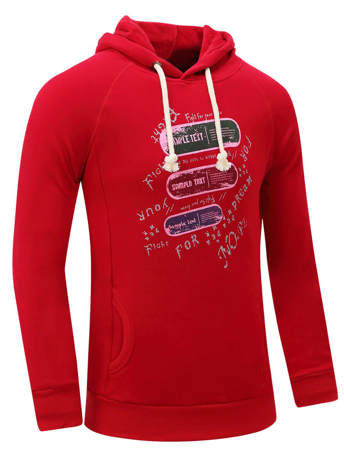 Letter Graphic Print Fleece Hoodie - RED 2XL