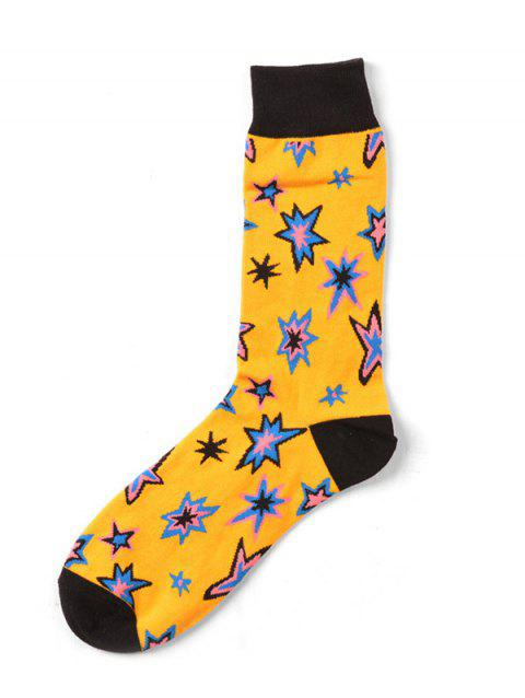 Pair of Floral Stars Pattern Winter Socks For Men - YELLOW ONE SIZE