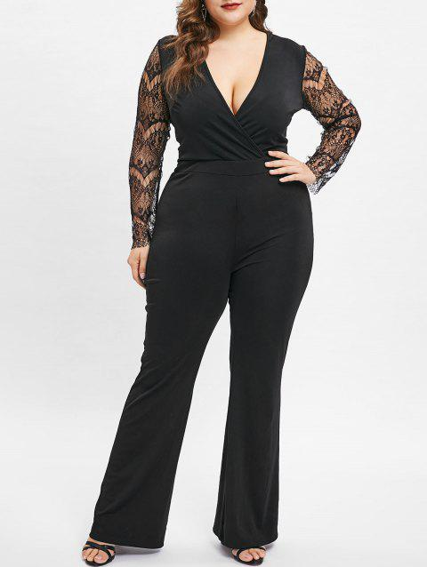 Plus Size V Neck Lace Sleeves Jumpsuit - BLACK 3X