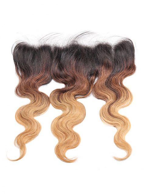 Real Human Hair Ombre Body Wave Lace Frontal Closure - multicolor 14INCH