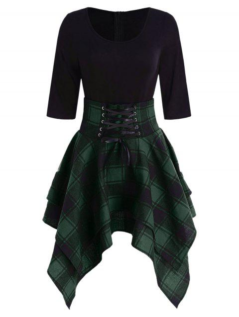 Lace Up Plaid Asymmetrical Dress - DARK FOREST GREEN M