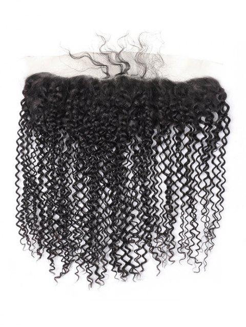 Brazilian Virgin Human Hair Jerry Curly Lace Frontal Closure - NATURAL BLACK 10INCH