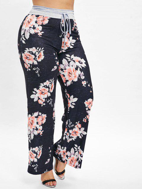 Plus Size Floral Print Wide Leg Pants - BLACK 1X