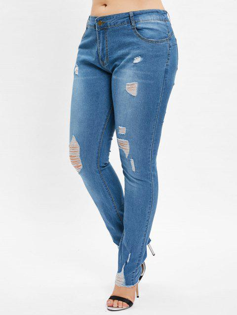 0033e518c0c5c 2019 Plus Size High Waist Ripped Denim Pants In DENIM BLUE L ...