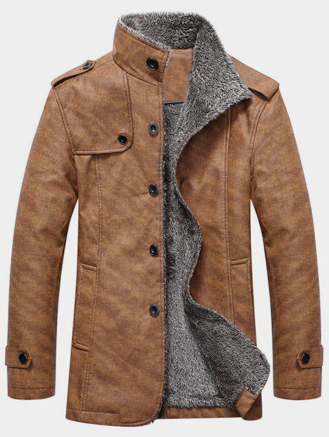 Stand Collar Single Breasted Epaulet Design Coat - BROWN BEAR XL
