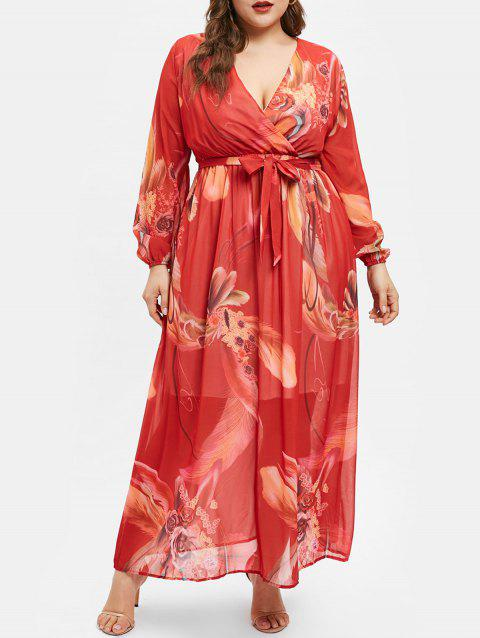 Printed Long Sleeve Plus Size Wrap Dress - RED 1X
