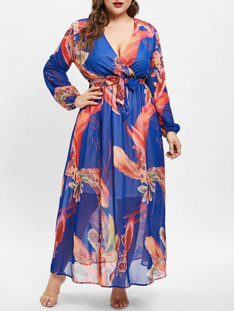 Plus Size Floral Print Wrap Dress - BLUE 2X