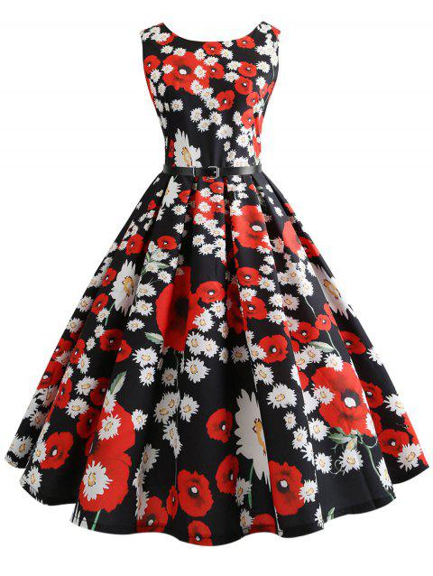 Belted Floral Print Sleeveless Vintage Dress - multicolor L