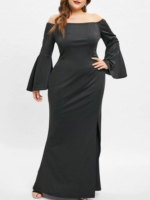 Flare Sleeve Plus Size Off The Shoulder Dress - BLACK 3X