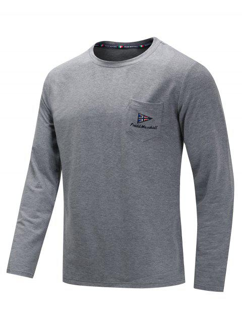 Casual Embroidery Chest Pocket Long Sleeve T-shirt - GRAY M