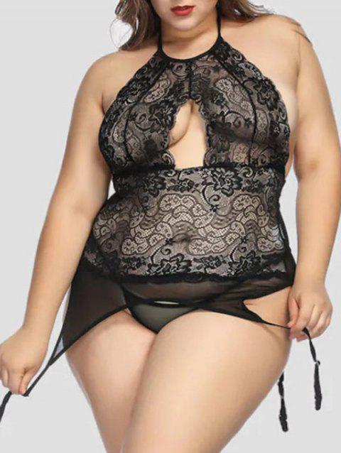 Plus Size Backless Halter Babydoll with Garter - BLACK 3X