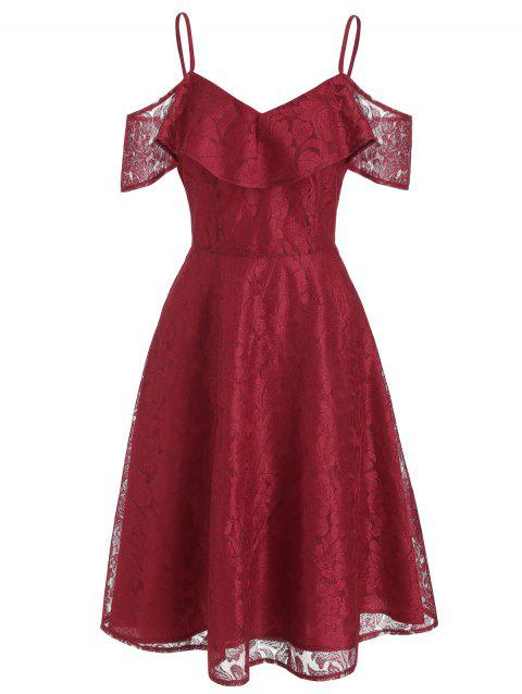 Floral Mesh High Waist A Line Dress - RED WINE S