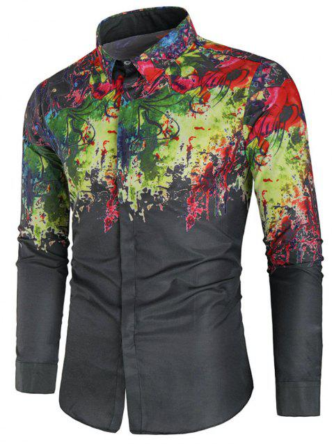 Splash Painting Print Long Sleeves Casual Shirt - BLACK XL