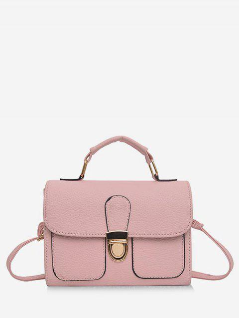 2019 Metal Buckle Small Square Leather Shoulder Bag In LIGHT PINK ... 622feb36109b0