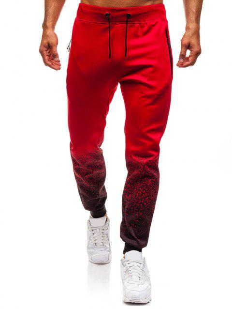 Bottom Gradient Spot Ink Print Sports Jogger Pants - RED L