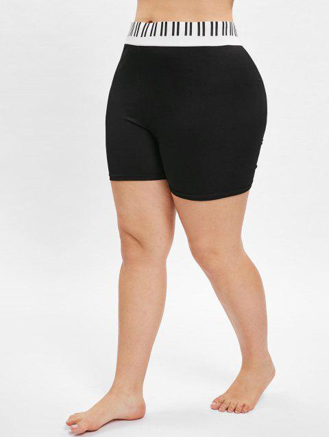 Plus Size Striped Short Leggings - BLACK 5X