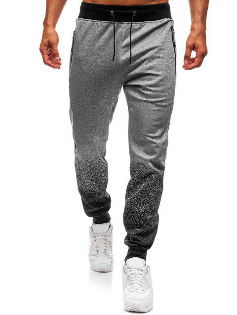 Bottom Gradient Spot Ink Print Sports Jogger Pants - GRAY XS