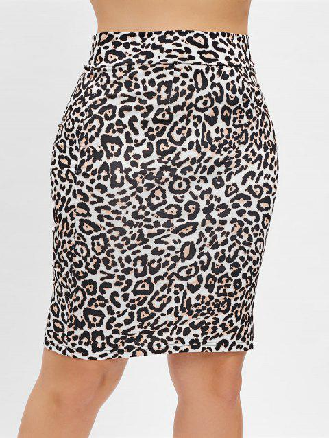 e9f45fdc2938 17% OFF  2019 Plus Size Leopard Print Zip Up Bodycon Skirt In ...