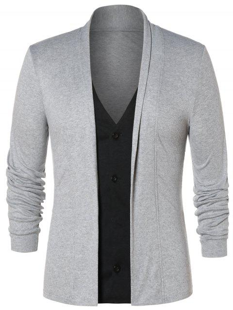 Faux Twinset Button Up Cardigan - GRAY CLOUD XL