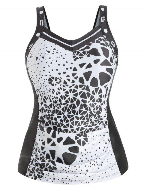 Plus Size Padded Abstract Print Tank Top - BLACK 2X