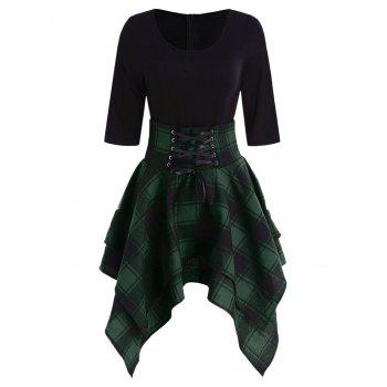 Lace Up Plaid Asymmetrical Dress