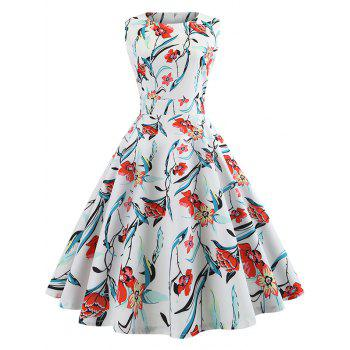 Vintage Floral Print Tie Knot Dress