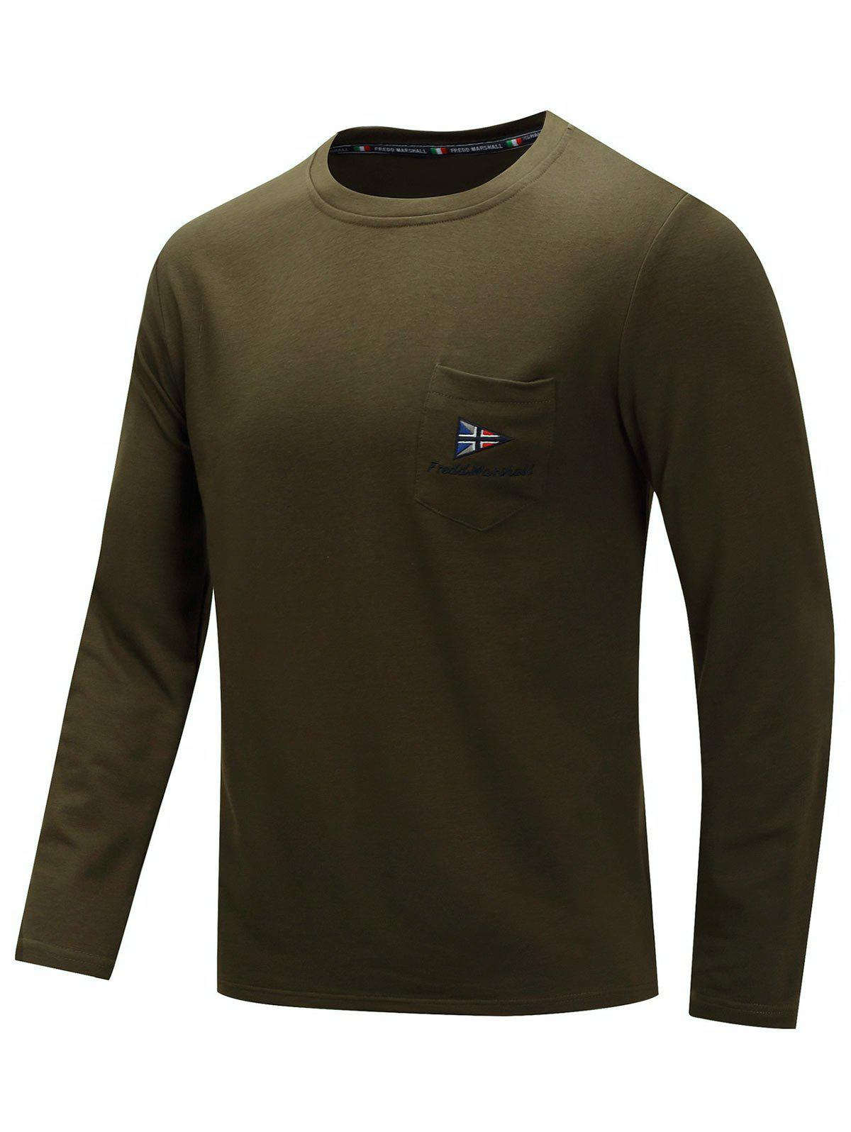 Casual Embroidery Chest Pocket Long Sleeve T-shirt - ARMY GREEN XL