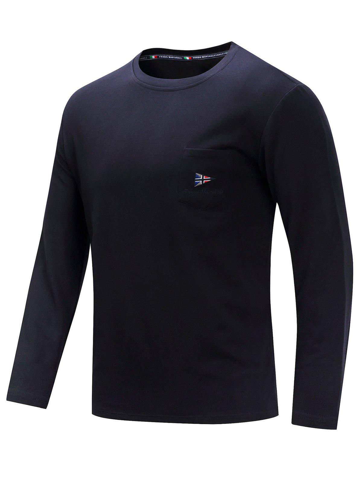 Casual Embroidery Chest Pocket Long Sleeve T-shirt - DEEP BLUE 2XL