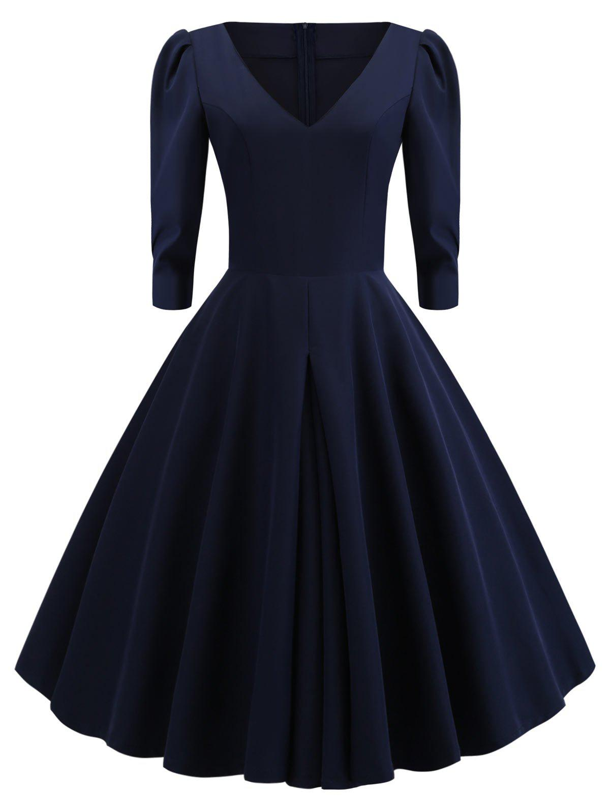 V Neck A Line Vintage Dress - CADETBLUE M