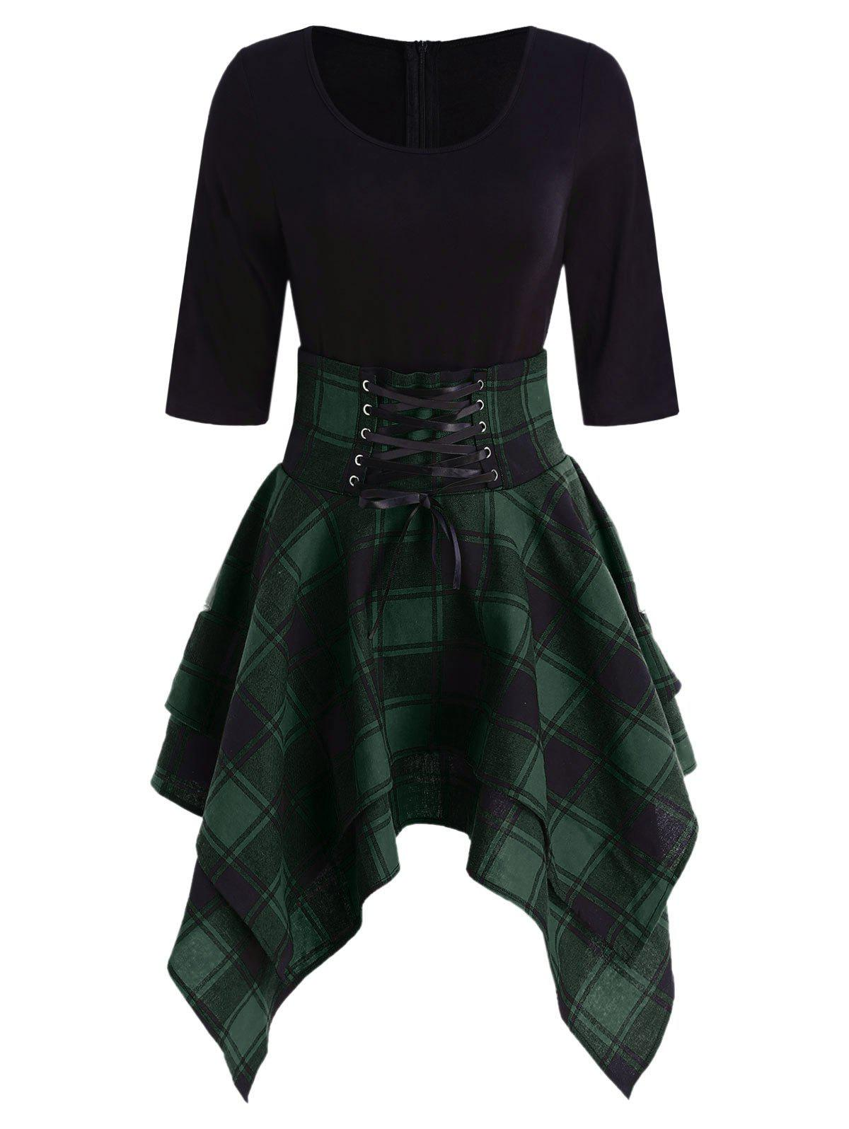 Lace Up Plaid Asymmetrical Dress - DARK FOREST GREEN 3XL