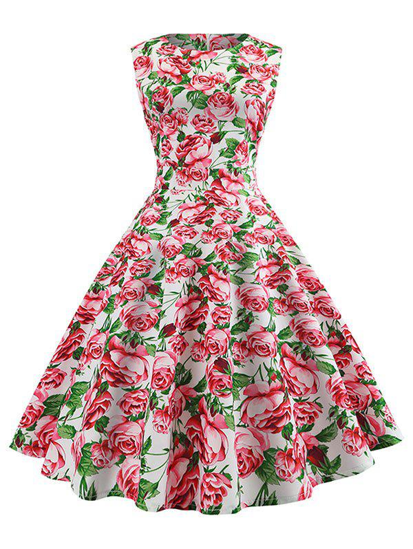 Sleeveless Floral Print Vintage Dress -