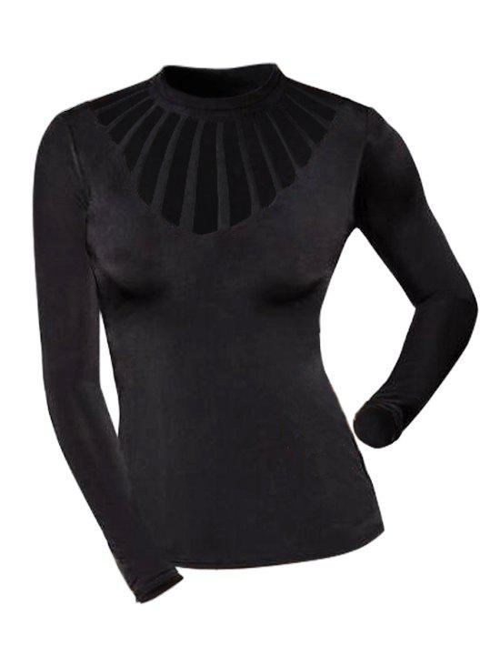 Plus Size Solid Color Hollow Out Long Sleeve T-shirt - BLACK 4X