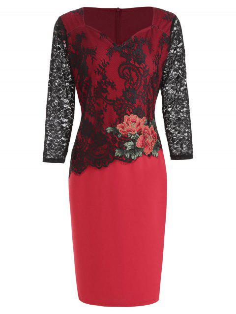 Flower Embroidered Lace Panel Bodycon Dress - RED L
